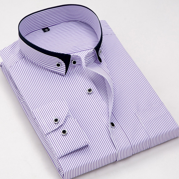 9e9f691b2 Hot Sale Shirts Men Dress Vertical Purple Stripes Casual Business Camisa  Social Slim Fit Formal Design