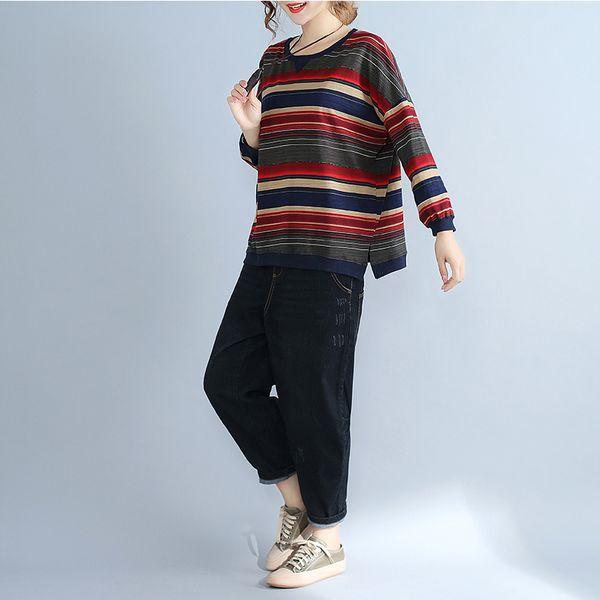 Women Spring T-shirts Long Sleeve Striped Pattern O-neck Plus Size T Shirt Female Tees Cotton Elegant Ladies Tees Outwear Tops