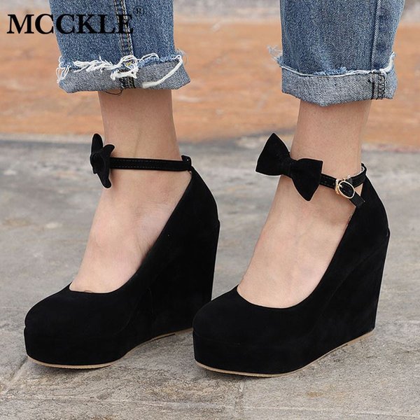 Women High Heels Elegant Wedges Wedding Dress Pumps Female Flock Platform Buckle Ankle Strap Bowtie Shoes Plus Size