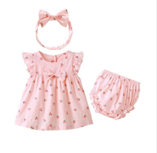 Cute Summer Infant Girls Clothing Overall Suits Bat Sleeve Pink Cherry Strawberry 3pcs set Dresses Panties and Headband for Babies