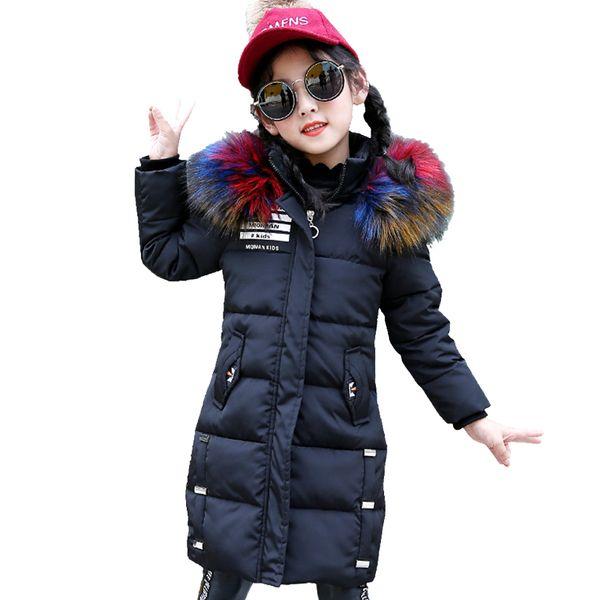 Girls Winter Jackets Cartoon Fur Hooded Parkas Coats for Girls Kids Clothes Thick Warm Cotton-padded Outerwear Children Top