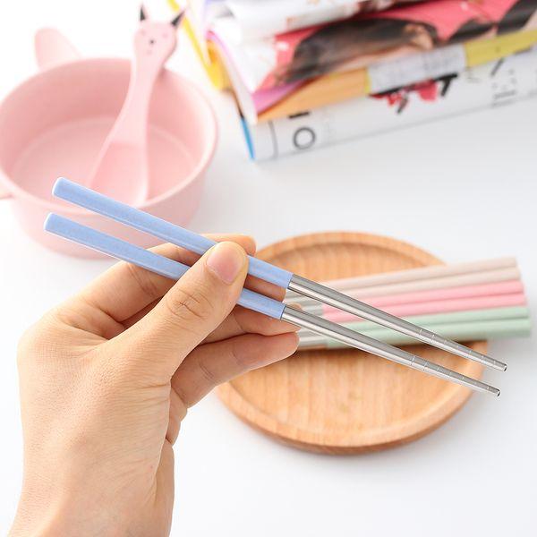 Paslanmaz Çelik Ev Oturma Çubuklarını Buğday Samanı Kolu Kullanımlık Çocuklar Yetişkin Piknik Taşınabilir Yemek Aksesuarları 4 renkler