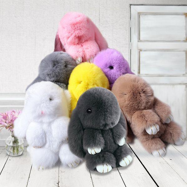 Fancy&Fantasy Cute Animal Genuine Rabbit Natural Fur PomPom Keychain Women Rabbit Key Chain Toy Doll Bag Car KeyRing Monster