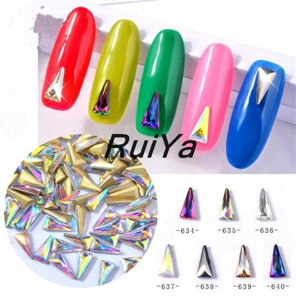 10pcs/lot Shiny Colorful Nail Art Rhinestones Triangle Glitter Crystal Manicure Glass 3D Nails Accessories Manicure Decorations
