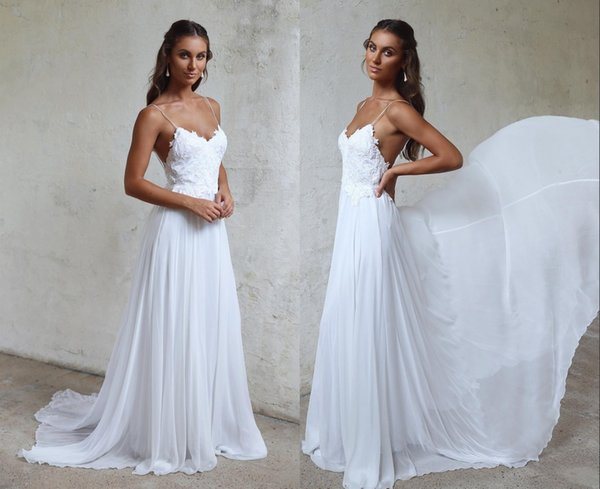 Sexy Spaghetti Straps Beach Prom Dresses Cheap Long Chiffon Bridal Gowns Backless Lace Appliqued Sheath Party Gowns HY4094