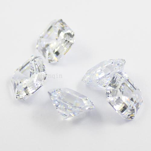 free shipping 10pcs/lot 8.5mmX8.5mm cubic zirconia simulated diamond asscher cut loose gem stones