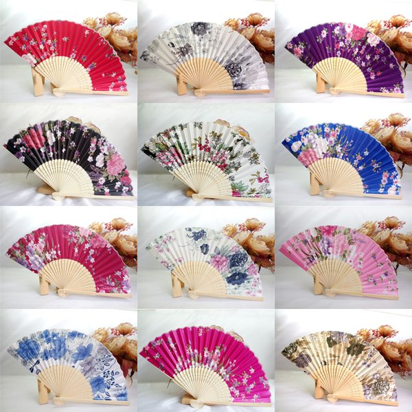 50Pcs Silk Wedding Fan,Japanese Folding Hand Fan,Chinese Dance Fans,Personalized Wedding Shower Gift,Customized Wedding Souvenir,Print Logo