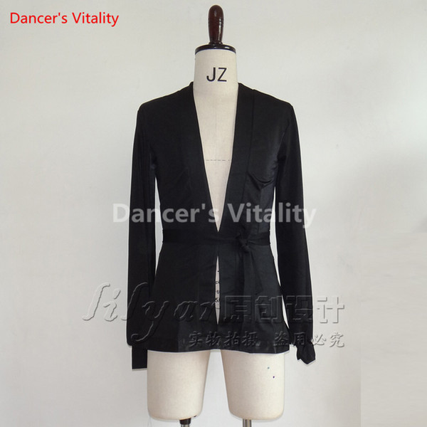 Latin Dance Men Tops Costume Performance Competition Suit Black Long Sleeves V-neck Shirt Rumba Salsa Tango Chacha Boys Top Dancewear Belt