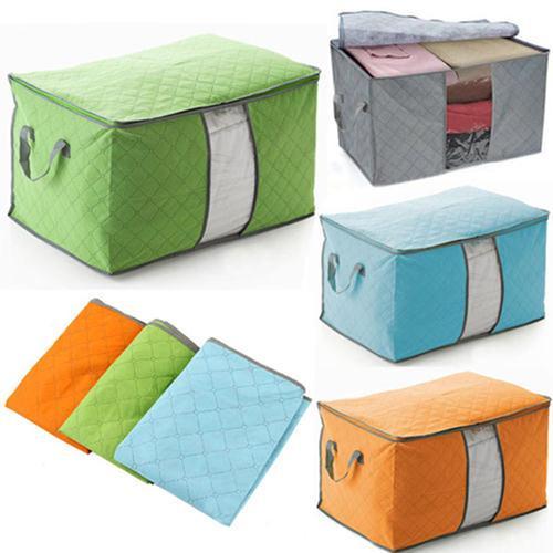 Scatola di immagazzinaggio portatile Organizzatore di carbone di legna non tessuto Abbigliamento Custodia Custodia coperta Cuscino Underbed Storage Bag Box