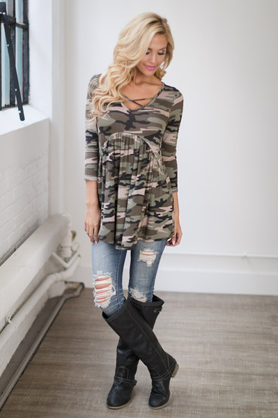 Women Clothing Casual Camouflage Tees Summer Female Panelled Long Sleeve Tops Scoop Neck Tshirts Free Shipping