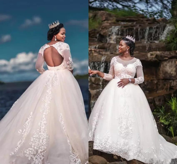Discount Plus Size Wedding Dresses 2018 Fall Winter Long Sleeves Wedding  Gowns Princess African Bridal Gowns Custom Make Cheap 2019 Bridal Gown  Bridal ...