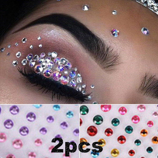 ¡PC 1! Nuevo tatuaje de maquillaje de diamantes Eyeliner Eyeshadow cara pegatina joya maquillaje de ojos de cristal pegatina