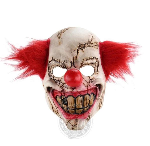 Horreur Fantôme Visage Clown Halloween Noël Engagé Bar Danse Partie Accessoires Étrange Latex Effrayant Masque En Gros