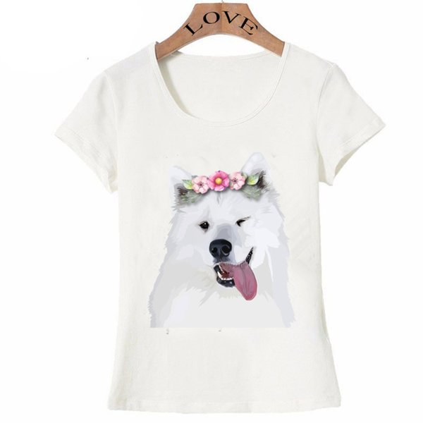 2018 nueva moda de verano de manga corta para mujer Pretty Samoyed camiseta de perro funny design lady Tops novedad chica camisetas