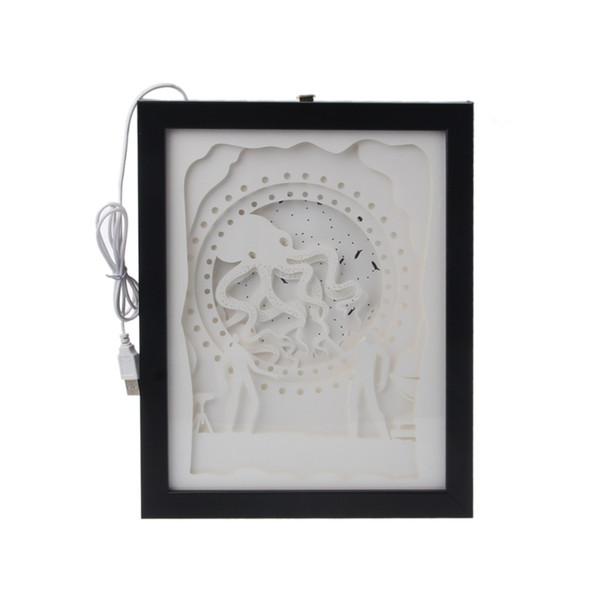Caixa de Luz Papercut LED USB Noite Luz Lâmpada Pinturas Criativas Octopus L22