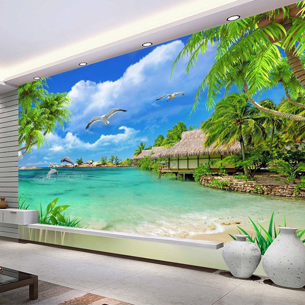Custom 3D Photo Wallpaper Beach Sea View Coconut Trees Scenery Wall Painting Living Room Sofa TV Background Mural Wall Paper