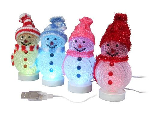 Christmas decorations USB Snowman lighting Christmas Snowman USB Christmas tree colorful luminous Snowman night lamp