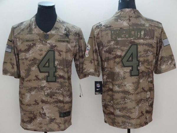 New 2019 Dak Prescott Jersey Ezekiel Elliott Dallas Cowboys Camo Salute  hot sale