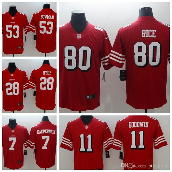 quality design 8469c 25f30 2018 2018 Mens San Francisco #11 Marquise Goodwin 53 Navorro Bowman 28  Carlos Hyde 7 Colin Kaepernick Red Short Sleeve Limited 49ers Jerseys From  ...