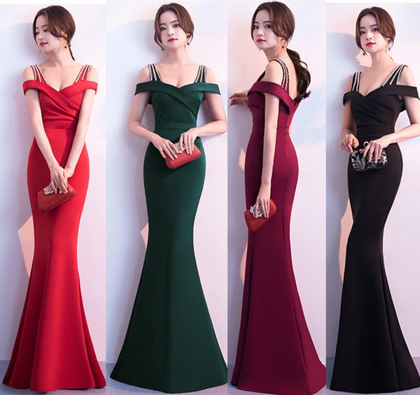 2018 Brides Toast Sexy Long Fish Tail Wedding Dress Women Evening Dress Prom Gowns Formal Wear A0013