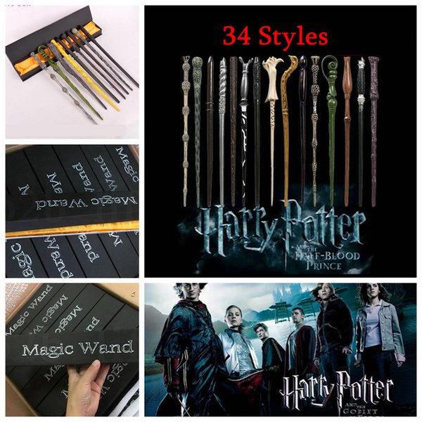 Harry Potter Magic Wand 34 Styles Voldemort Ron Hermione Dumbledore Resin Cosplay Magical Wand With Gift Box Souvenirs 300pcs OOA5470