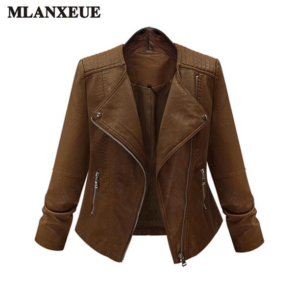 Gran tamaño de la capa de las señoras 2017 chaquetas de cuero de imitación dama marrón mate motocicleta motorista cremalleras abrigos sexy prendas de vestir exteriores chaqueta de otoño