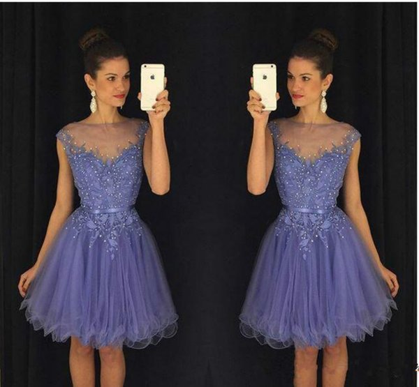 Sexy Beads Tulle Sheer Homecoming Dresses for Juniors Lace 2019 Plus Applique Short Prom Dress Party Ball Gowns Graduation Club Wear Cheap