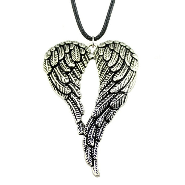 WYSIWYG 5 Pieces Leather Chain Necklaces Pendants Choker Collar Male Necklace Fashion Big Double Wings 68x46mm N6-B12303