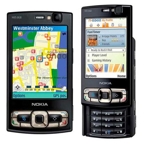 Refurbished Original Nokia N95 8GB Unlocked Slide Phone 2.8 inch Screen 5.0MP Camera 3G WIFI GPS Bluetooth Cheap Cell Phone Free Post 1pcs
