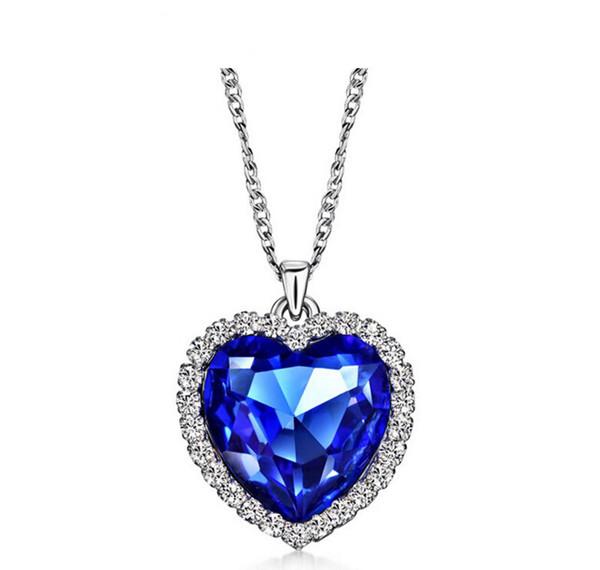 Venta al por mayor-Classic Zircon Titanic Ocean Heart Necklace Sapphire Dark Blue Crystal Heart Colgante Declaración Cadena Collar Mujer Joyería N54
