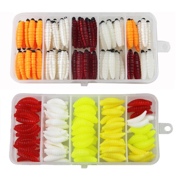 Wholesale Earthworm Lures 120Pcs Fishing Lures Kit Soft Maggot Grub Lure Bait Mixed Color Tackle Box