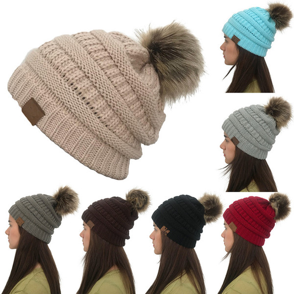 top popular 8colors Women Winter Knitted Beanie Faux Fur Cap Pom Ball Crochet Hats Knitted Hat Skully Warm Ski Trendy Soft Thick Caps AAA823-1 20pcs 2019