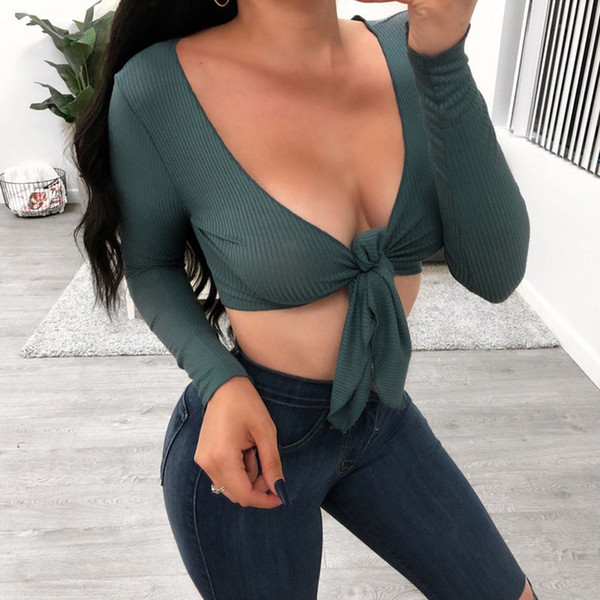 Sexy O Neck Long Sleeve Knitting T Shirt For Women 2018 Short Slim Chest Lace Up T-Shirts Street Crop Tops