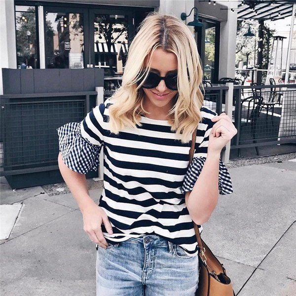 Fashion Women T Shirt Summer Casual Short-sleeved Flare Sleeve Striped Loose Tops Hot Girls Women T-shirt Blusas