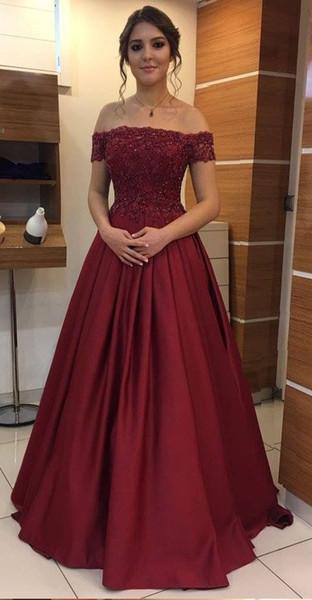 Compre Elegante Vino Rojo Fuera Del Hombro Noche Vestidos Formales Largo Barato Con Mangas Cortas Apliques De Encaje De Lentejuelas Satinado Una Línea