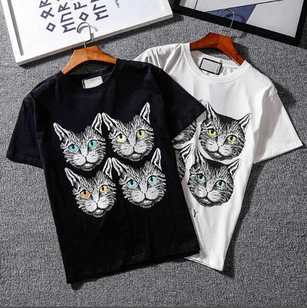 2018SS women's cat head brand T-shirt tops de manga corta tee camisetas impresas con la misma marca Celebrity Series 21 estilos S - XXL