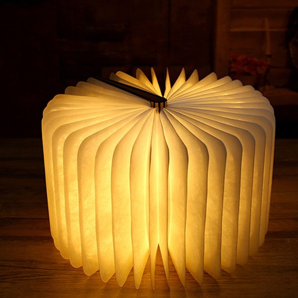 USB Rechargeable Wooden Folding LED Book Light for Decor/Desk/Table/Wall, Magnetic Lamp 200mA Lithium Batteries Desk Table Lamp - 3 color