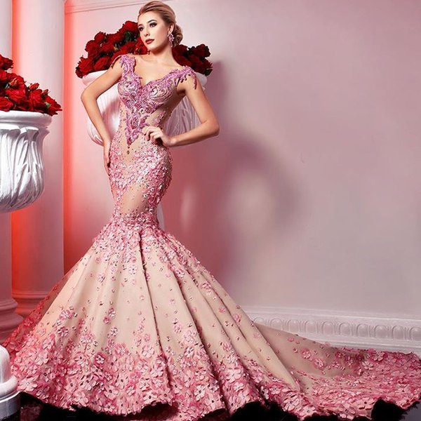 Lace Prom Dresses Lace Beading Sequins Hand Made Flowers Cap Sleeve Mermaid Crystal Evening Dresses Gowns