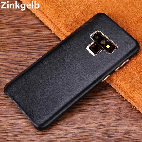 Samsung Not 9 için Kapak Kılıf Lüks Ince Yumuşak Hakiki Deri Zırh Darbeye Geri Telefon Kılıfı için Samsung Note 9 Kılıf Kapak