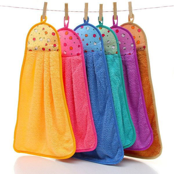 Practical 32*46cm Coral Velvet Fleece Hanging Type Towel 11 Colors Absorbent Hand Dry Towels Kitchen Dish Cloth