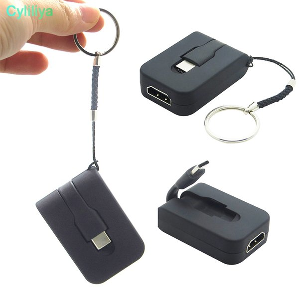 Keychain USB 3.1 USB C Type C Male to HDMI 4K 30Hz Female Adapter Cable for MacBook Samsung S9 S8 Note 8 Huawei