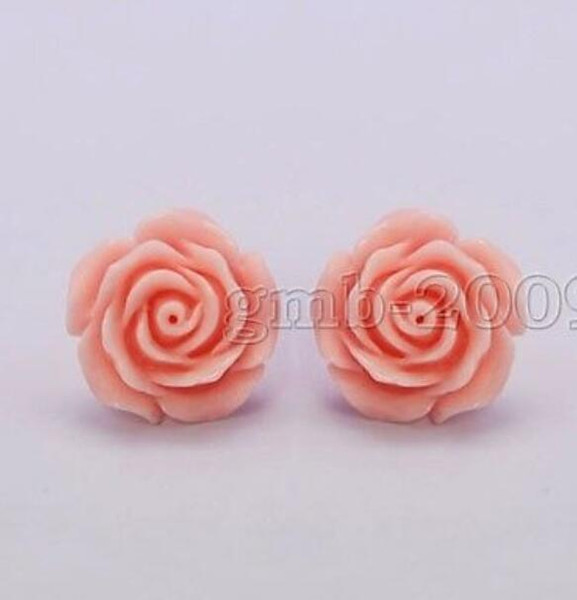 New Pretty 12mm Coral Pink Rose Blume 925 Silber Ohrstecker