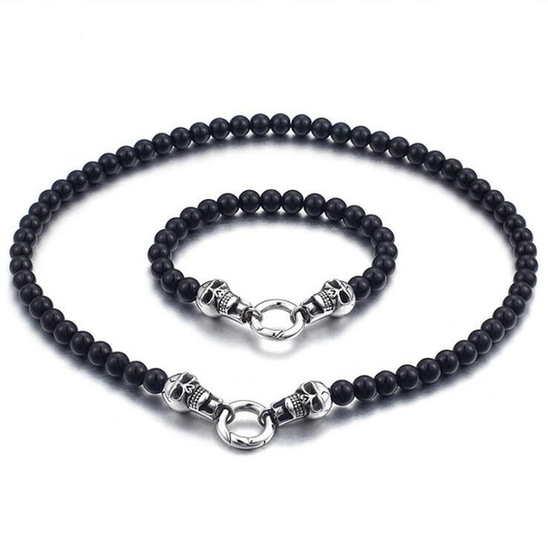 Punk Rock Double Skull Jewelry Sets Black Bracelet & Necklace Set For Men Stainless Steel Black Beads Jewellery