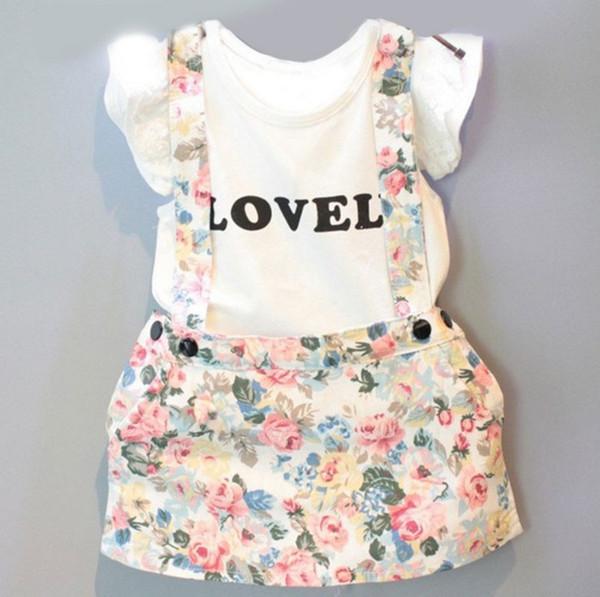 Newborn kids baby girls summer outfits clothes short sleeve T-shirt tops +floral suspender dress 2pcs/set outfits kids girls fashion suit