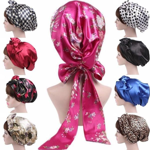 Weicher Schal Hijab Satin Bow Kopftuch Haube Wrap Sleeping Turban Haarschmuck Head Scarf Sleeping