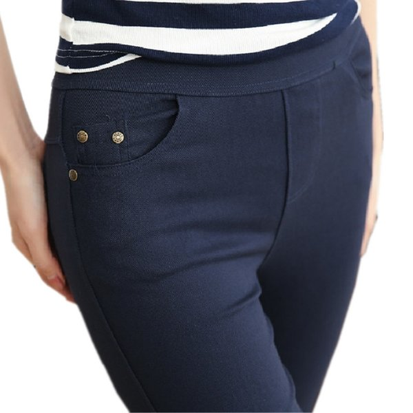 Clobee Plus Size Women's Pencil Pants Women Casual Capris White Black Navy Color Female Bottoming Pants Palazzo Formal Trousers S18101605