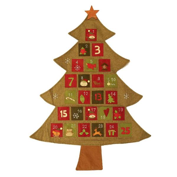 Decorações de natal Árvore de Natal Divertido Calendário de Linho Calendário de Natal Decoração Do Quarto Do Bebê Hotel Decoração de Casa de Compras