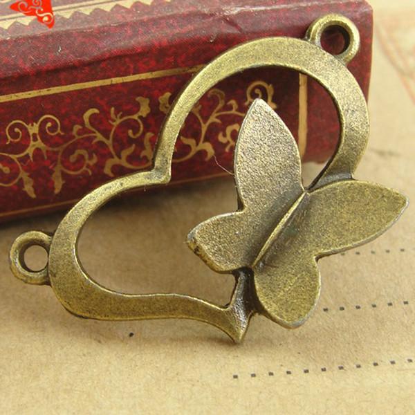 A3128 30*18MM Love butterfly heart connector charms connection pieces retro jewelry wholesale, antique bronze zinc alloy metal pendant