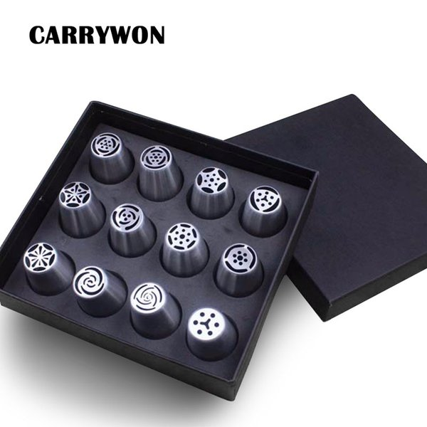 CARRYWON 12PCS/set Big Size Russian Tulip Stainless Steel Icing Piping Nozzles Tip Russia Nozzl Pastry Tools Dessert Decorators