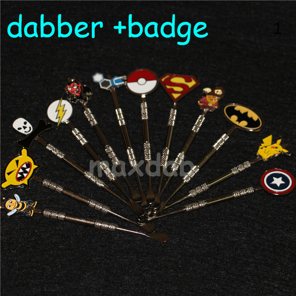 best selling Top sale wax carving dab tool with plastic tube package stainless steel wax dabber tools silicone tip end smoking metal dab tools badge